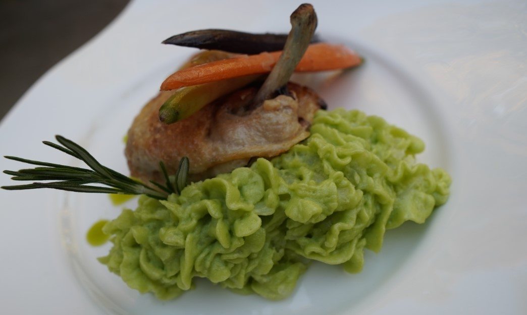 Organic Roasted Chicken breast with fluffy wasabi mashed potatoes. (G